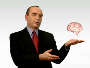 Man holding holographic brain
