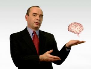 Man holding holographic brain